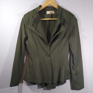 Hybrid Olive Green Double Lapel Blazer Jacket